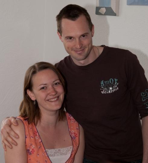 Annelie och Andreas hos föräldrarna