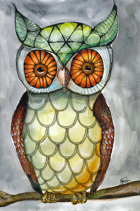 Uggla i akvarell - Owl in watercolor