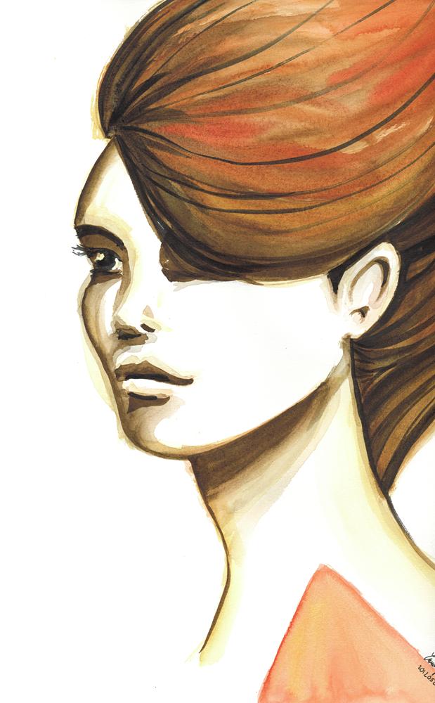 Tecknad tjej i akvarell inspirerad av Stina Persson