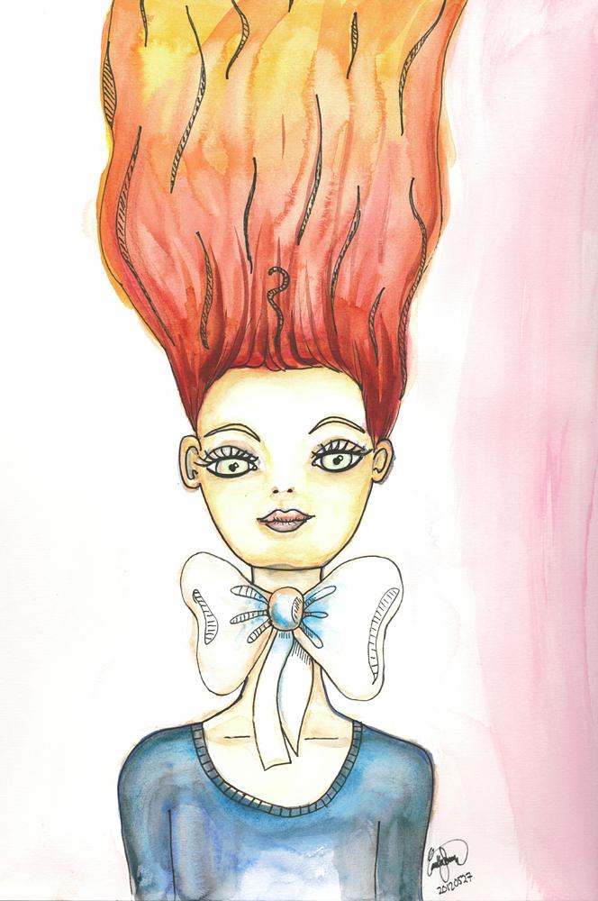 Tecknad tjej i akvarell inspirerad av Cassandra Rhodin