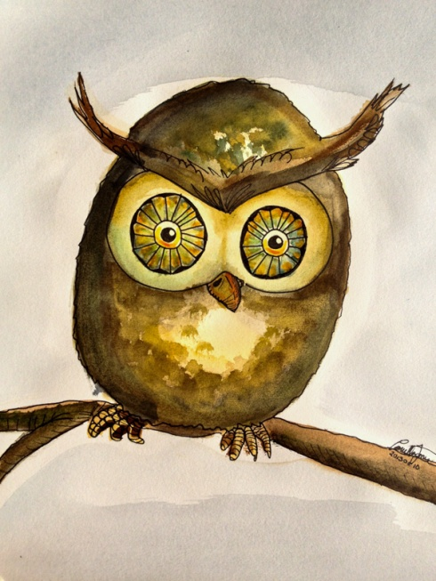 Owl in watercolor