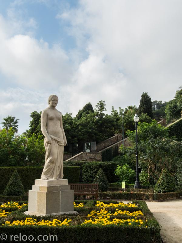 Trädgården Miramar i Montjuic i Barcelona